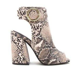 [LIKE 🆕] Qupid Shoes: Snakeskin Block Heels